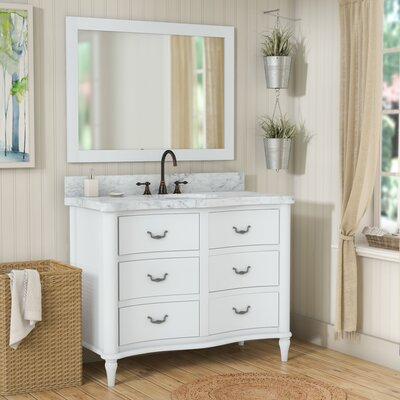 Kingston Seymour Wood 49 Single Bathroom Vanity Set with Mirror Base Finish: White