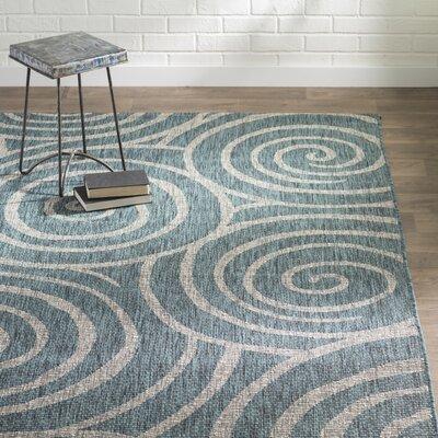 Weber Transitional Aqua Indoor/Outdoor Area Rug Rug Size: Rectangle 67 x 96