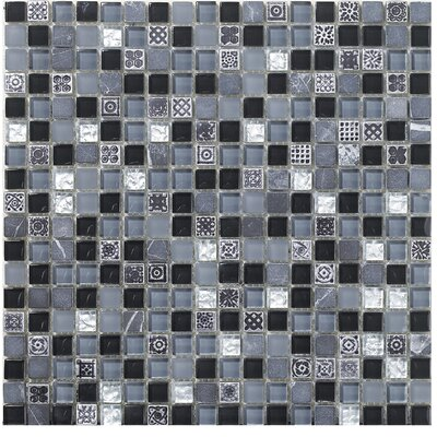 Treasure 12 x 12 Glass Gem Mosaic Tile in Black Cloud