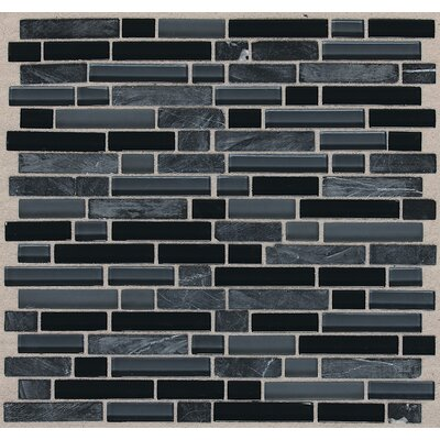 Treasure 12 x 13 Glass Gem Mosaic Tile in Black Cloud