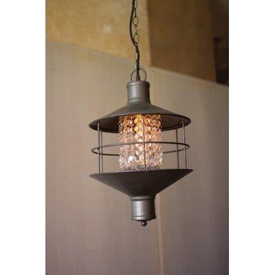 1-Light Metal and Gems Lantern Pendant
