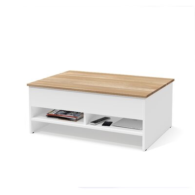 Wardle Lift-Top Storage with Solid Wood Top Surface Coffee Table Table Base Color: White/Natural