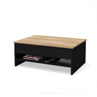 Wardle Lift-Top Storage with Solid Wood Top Surface Coffee Table Table Base Color: Black/Natural