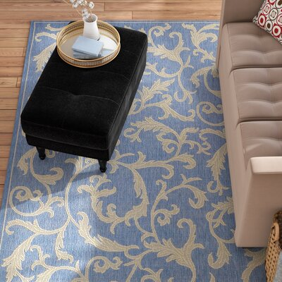Short Persian Blue Area Rug Rug Size: Rectangle 53 x 77