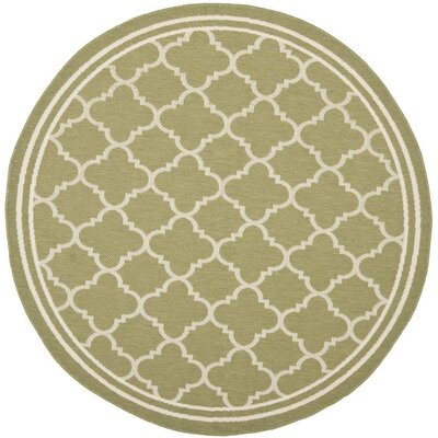 Short Green/Beige Indoor/Outdoor Area Rug Rug Size: Round 53