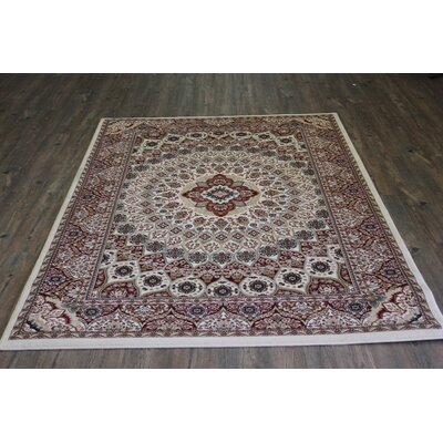 Boulevard Traditional Oriental Cream/Red Area Rug Rug Size: Rectangle 5'3