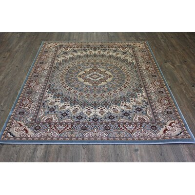 Boulevard Traditional Oriental Blue/Red Area Rug Rug Size: Rectangle 53 x 75
