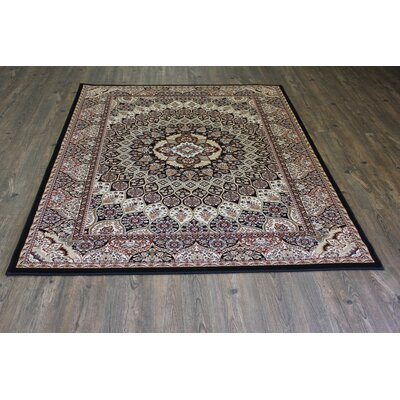 Boulevard Traditional Oriental Black/Beige Area Rug Rug Size: Rectangle 53 x 75