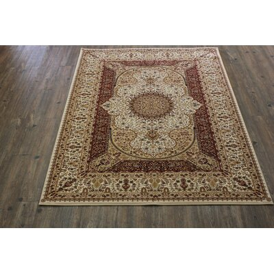 Boulevard Traditional Oriental Cream/Red Area Rug Rug Size: Rectangle 710 x 106