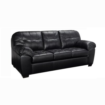 Suter Leather Sofa Upholstery: Black