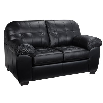 Winship Leather Loveseat Upholstery: Black