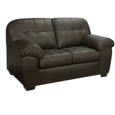 Winship Leather Loveseat Upholstery: Brown