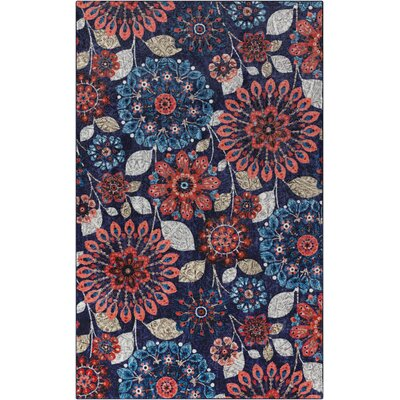 Fedna Floral Dream Navy/Red Area Rug Rug Size: 8x10