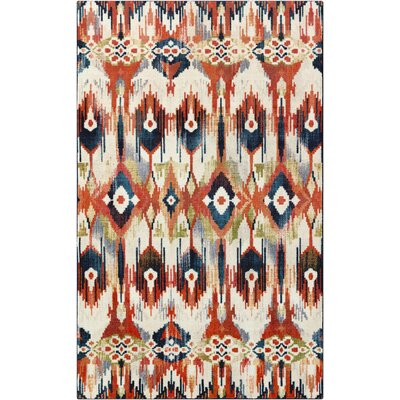 Lenora Painted Batik Beige/Rust Orange Area Rug Rug Size: 8x10