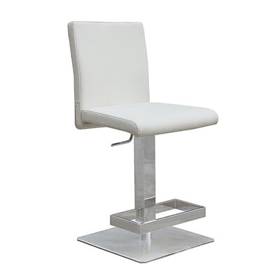Witton Adjustable Height Bar Stool Color: White