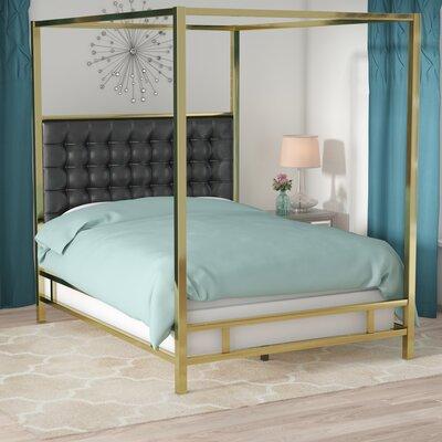 Alek Upholstered Canopy Bed Size: King, Color: Gold