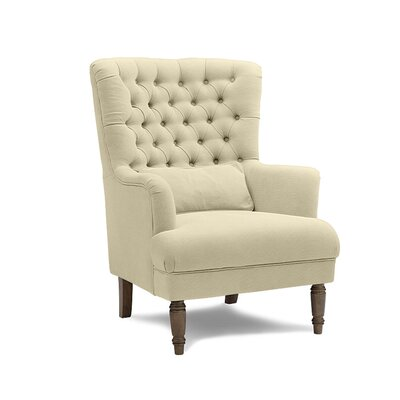 Lylia Button Tufted Winged Armchair Upholstery: Beige