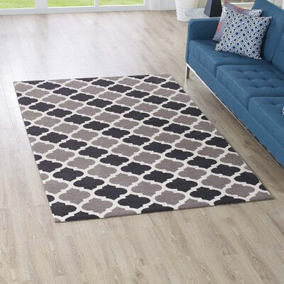 Tusten Moroccan Trellis Charcoal/Black Area Rug Rug Size: Rectangle 5 x 8