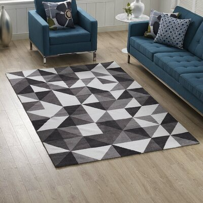 Witherell Geometric Triangle Mosaic Black/Gray/White Area Rug Rug Size: Rectangle 5 x 8
