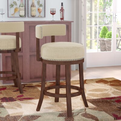 Norden Contemporary 30 Swivel Bar Stool Upholstery: Beige