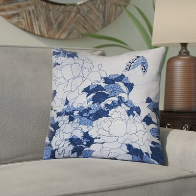 Clair Peonies and Butterfly Indoor Throw Pillow Size: 16 H x 16 W, Color: Blue