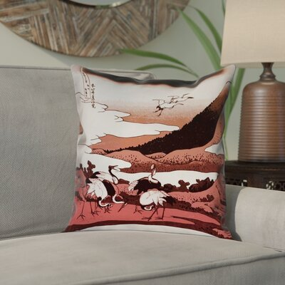Montreal Japanese Cranes Square Pillow Cover Size: 16 x 16
