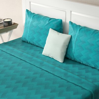 Jaelyn 400 Thread Count 100% Cotton Sheet Set Size: King, Color: Aqua