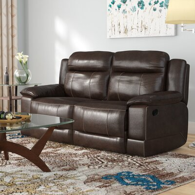 Rindham Manual Motion Leather Reclining Loveseat