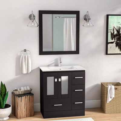 Lapoint Modern 30 Single Bathroom Vanity Set with Mirror Base Finish: Espresso