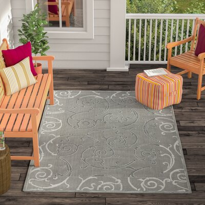 Short Anthracite / Light Grey Indoor/Outdoor Rug Rug Size: Rectangle 53 x 77