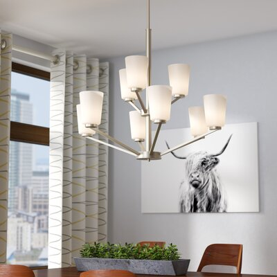 Naccarato 9-Light Shaded Chandelier Finish: Brushed Nickel