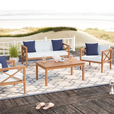 Delray 4 Piece Sofa Set with Cushions Frame Color: Teak