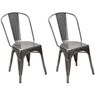Dunamoy Metal Dining Chair Color: Gunmetal Silver