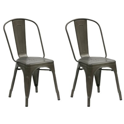 Dunamoy Metal Dining Chair Color: Rustic Gold Bronze