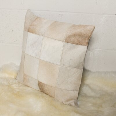Burrell Square Patchwork Cowhide Throw Pillow Color: Natural