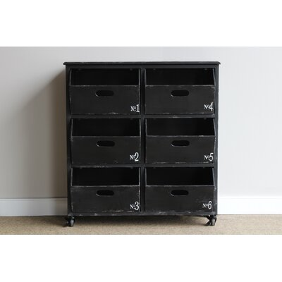 Gracie Oaks Lindbergh Metal Numbered Bin Cart 6 Drawer Accent Chest
