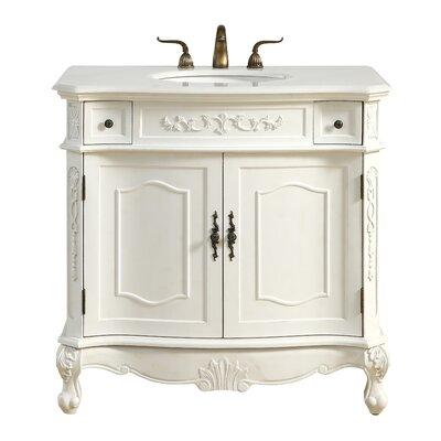 Meriden 36 Single Bathroom Vanity Set Base Finish: Antique White, Top Finish: White