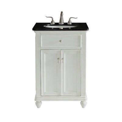 Fawkes 24 Single Bathroom Vanity Set Base Finish: Antique White, Top Finish: Black