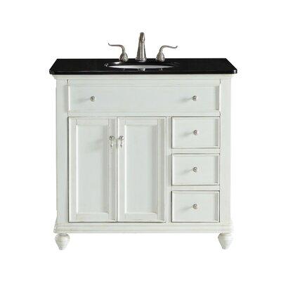 Fawkes 36 Single Bathroom Vanity Set Base Finish: Antique White, Top Finish: Black