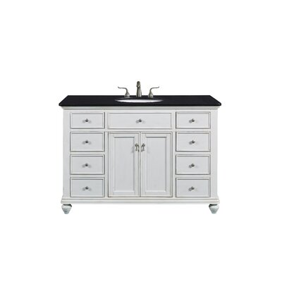 Fawkes 48 Single Bathroom Vanity Set Base Finish: Antique White, Top Finish: Black