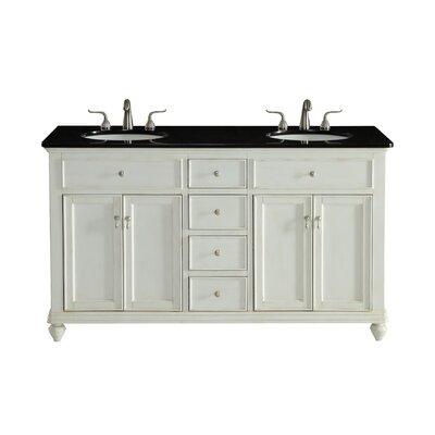 Fawkes 60 Double Bathroom Vanity Set Base Finish: Antique White, Top Finish: Black