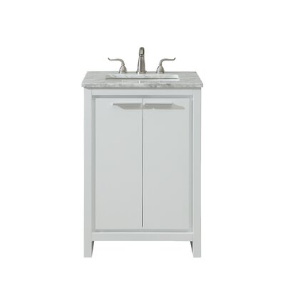 Easterling 24 Single Bathroom Vanity Set Base Finish: White, Top Finish: Carrara White