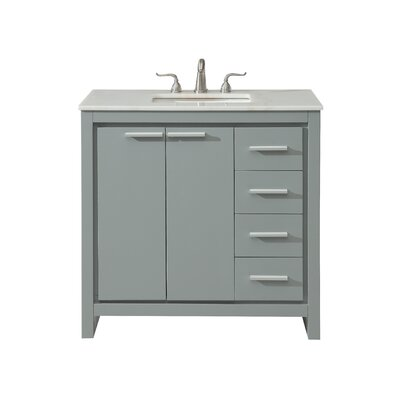 Easterling 36 Single Bathroom Vanity Set Base Finish: Gray, Top Finish: White