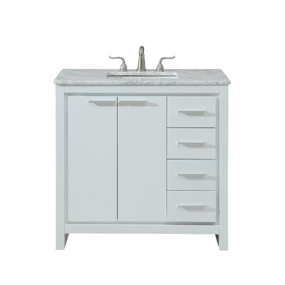 Easterling 36 Single Bathroom Vanity Set Base Finish: White, Top Finish: Carrara White