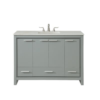 Easterling 48 Single Bathroom Vanity Set Base Finish: Gray, Top Finish: White