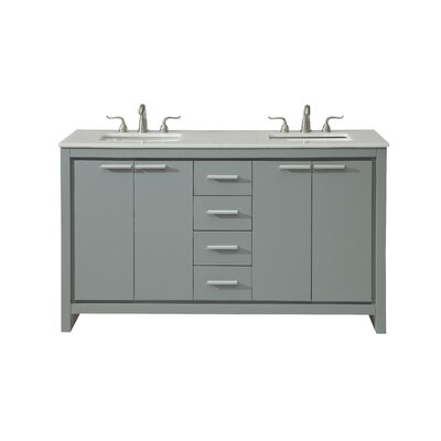 Easterling 60 Double Bathroom Vanity Set Base Finish: Gray, Top Finish: White