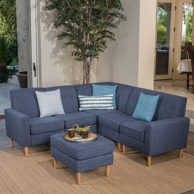Weisser Mid Century Sectional with Ottoman Upholstery: Dark Blue