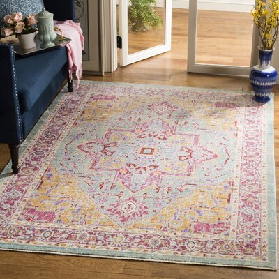 Justine Aqua Area Rug Rug Size: Rectangle 4 x 6