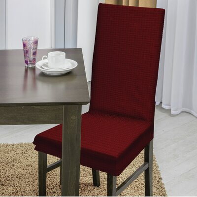Dining Chair T-Cushion Slipcover Upholstery: Burgundy