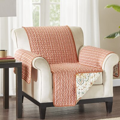 Floral Cotton Printed Reversible Box Cushion Armchair Slipcover Upholstery: Microfiber Striped Red